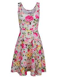 tom u0027s ware womens casual fit and flare floral sleeveless dress at