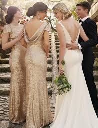 rose gold cheap mermaid bridesmaid dresses with cap sleeves 2016