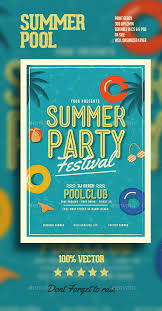 summer pool party flyer summer pool ai illustrator and party flyer