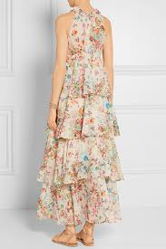 anjuna melania tiered floral print cotton voile dress lyst