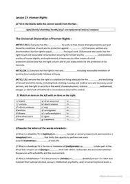 14 free esl human rights worksheets