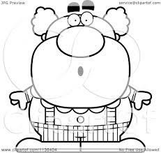 cartoon clipart of an outlined surprised pudgy circus clown