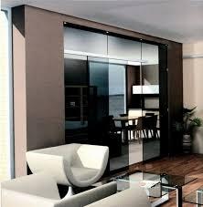 sliding door kitchen living room glass mirror modern elegant black