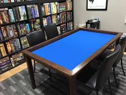 custom board game table knotty alder wood carrington stain blue