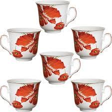 prime home decor jogo de xícaras de chá em porcelana 06 peças cinara prime home