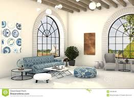 country style living room interior with big round windows stock
