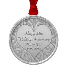 25th wedding anniversary christmas ornament silver 25th gifts on zazzle