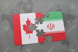 Iran On World Map Puzzle With The National Flag Of Canada And Iran On A World Map
