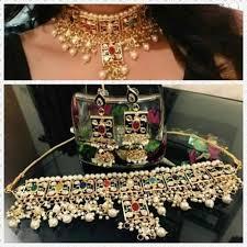 wedding jewelry choker necklace images Kundan bridal wedding gold plated necklace jpg