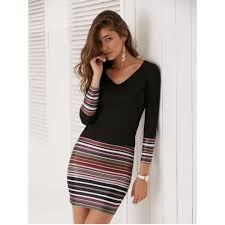 tight dress sleeve striped fitted tight dress black m