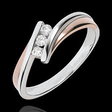 3 diamond rings engagement ring precious nest trilogy diamonds pink gold