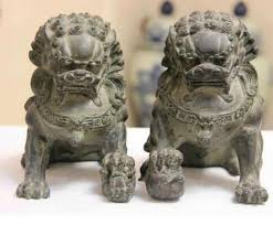 foo dog sculpture collect 1 pair 2 item home fengshui bronze lion foo
