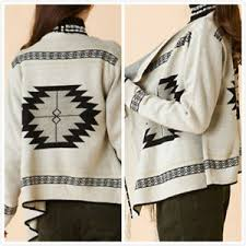 tribal sweater indian navajo boho fringe open front sweater cardigan tribal