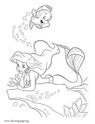 beautiful coloring picture ariel lying sea rock