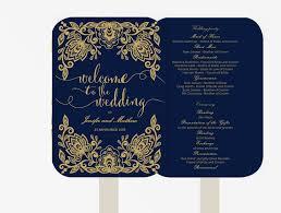 Wedding Fan Programs Diy Wedding Fan Program Editable Ms Word Template Diy Navy Blue