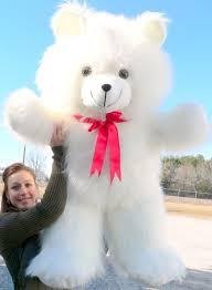big teddy white teddy 42 inch soft teddybear made in usa america