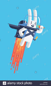 rabbit material flying rocket jetpack rabbit launching in sky isolated in material