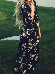 dress black pastel floral print three quarter length sleeve