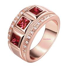 red emerald rings images Womans thick wide band ring with bezel set garnet red and amethyst jpg