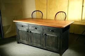 black kitchen island with seating table w granite top drawers