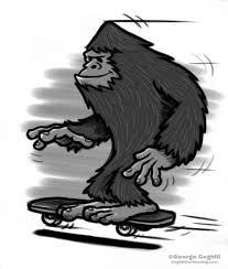 bigfoot skateboarding cartoon sketch coghill cartooning