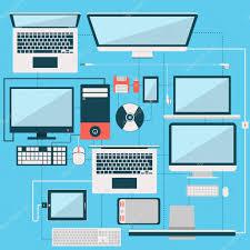 computer laptop and another gadget flat design collection u2014 stock