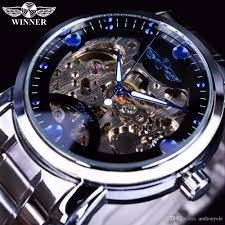 winner skeleton watch mens watches blue ocean fashion casual