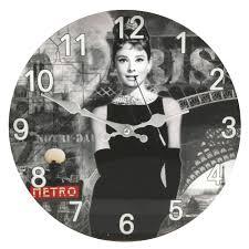 designer wall clocks online india audrey hepburn picture glass wall clock