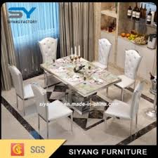 Steel Living Room Furniture Smart Expo Modern Dining Room Furniture Marble Top Stainless