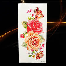 one piece trendy temporary tattoo flower rose clock jewel death