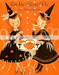 vintage halloween illustration vintage halloween secret pal card witches digital download