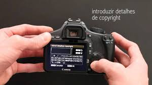 como colocar informações de copyright na sua canon t2i t3i e t4i