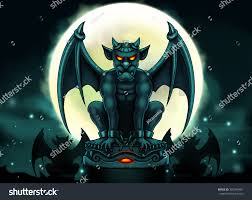 halloween gargoyle illustration night scene big stock illustration