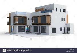 Home Design Stock Images by 3d Render Of Modern House On White Background Stock Photo Royalty