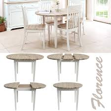 Kitchen Dining Furniture by Florence White Round Extended Table 92 117cm 100 Hardwood