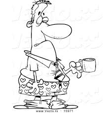 vector of a cartoon businessman in boxers holding a cup of coffee