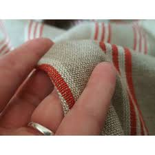 Natural Linen Curtain Fabric Designer Natural Red Ticking Stripe 100 Heavy Linen 60