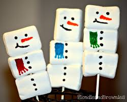 snowman marshmallows square marshmallow snowmen pops blondie and brownies