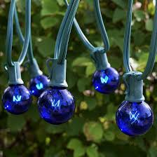 Outdoor Blue Lights 25 Foot Green Wire Blue Globe Light String