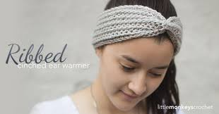 crochet ear warmer headband ribbed cinched ear warmer pattern monkeys crochet