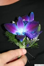 blue orchid corsage coutry petals