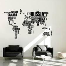 sticker mural chambre mot anglais carte du monde grand noir amovible stickers muraux