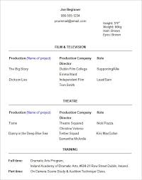 theater resume example 10 acting resume templates free samples