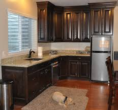 small l shape kitchen design and decoration using brown granite