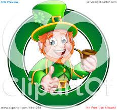 clipart of a cartoon friendly st patricks day leprechaun giving a