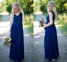 2016 cheap country navy blue bridesmaid dresses v neck lace