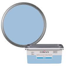 Blue Paint Swatches Colours China Blue Matt Emulsion Paint 2 5l Departments Diy At B U0026q