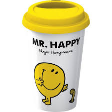 Creative Coffee Mugs Creative Tops Mr Men Mr Happy Take Away Travel Double Walled