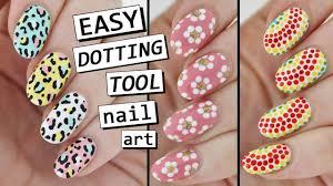 dotting tool nail art 3 easy designs youtube