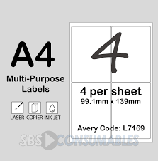 4 Per Sheet Label Template by Printable White Sticky Address Labels Office Supplies Uk